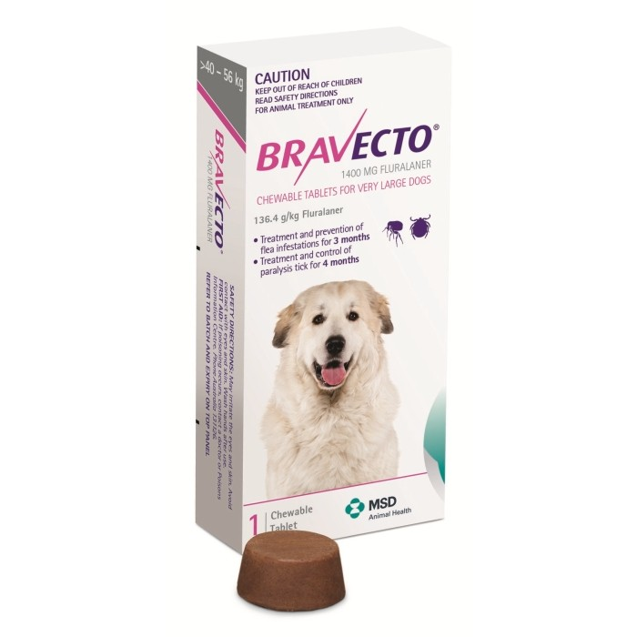 Bravecto Dogs Very Large 40 - 56kg 1 Chew