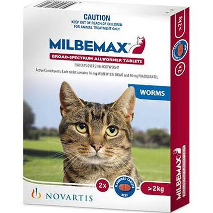 Milbemax Tablets for Cats Large 2-8kg 2 Pack